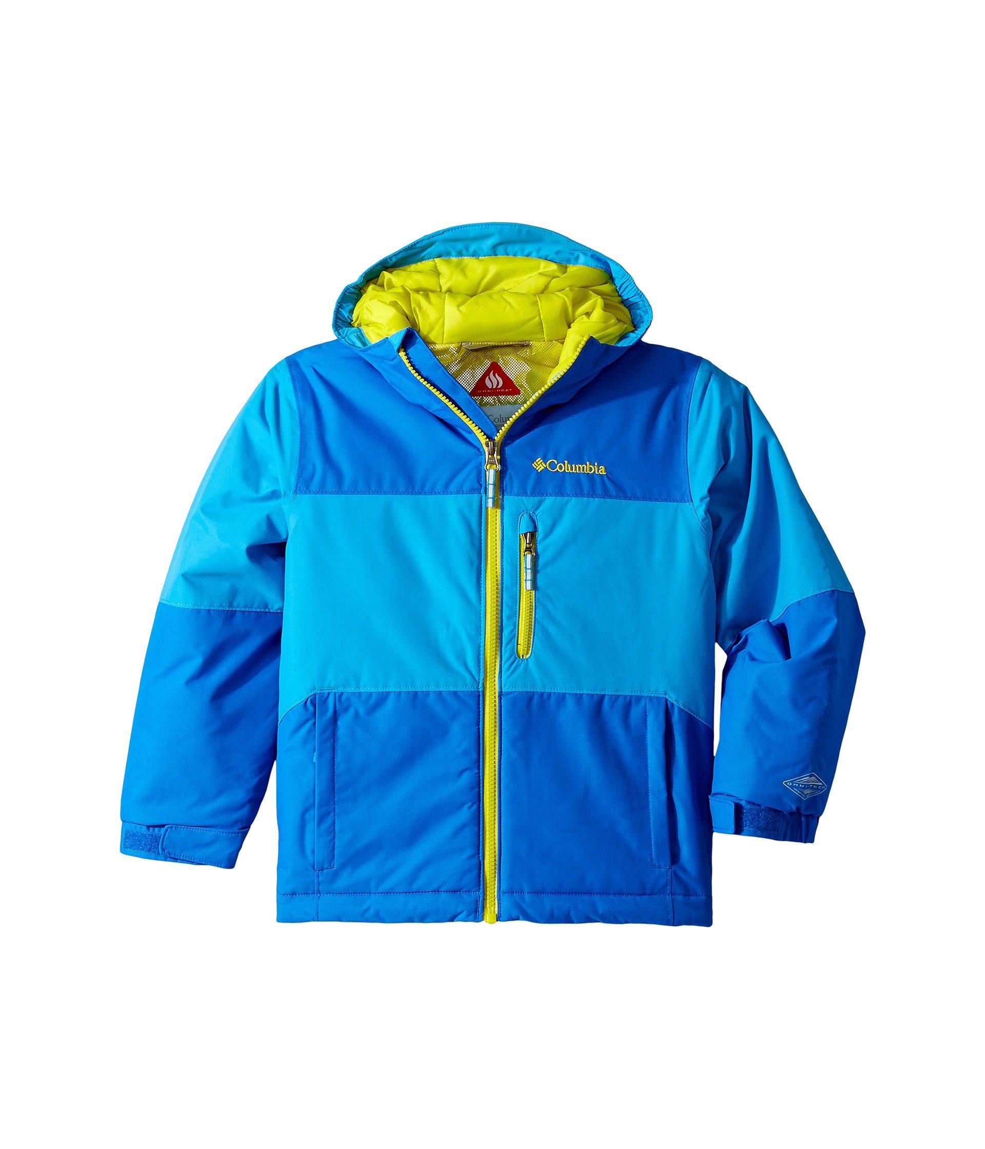 Columbia Kids Boy's Magic Mile Jacket (Little Kids/Big Kids) Peninsula Super Blue/Ginkgo Large