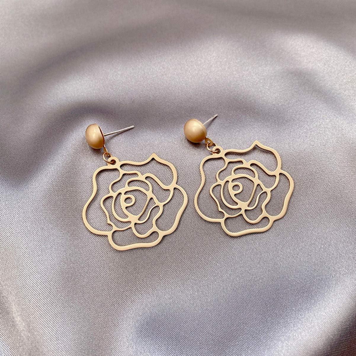 Happyyami 1 Paire Femmes /Évider Rose Boucles Doreilles Belle D/écoration /Él/égante Bijoux Goutte Doreille Rose Boucles Doreilles Accessoire de Tissu pour Femme Fille Dame