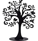 Jewelry Tree Stand Metal Jewelry Organizer Holder Display for Earrings, Bracelets, Necklaces (Black)