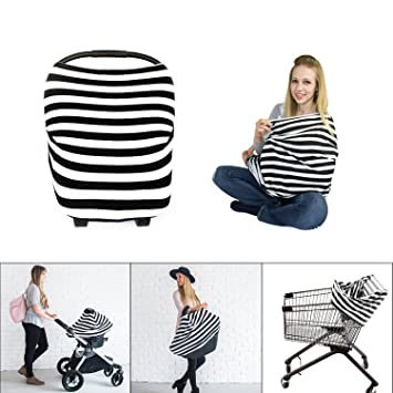 Multi Use Infinity Stretchy Nursing Breastfeeding Cover Scarf-Baby Car Seat Canopy, Shopping Cart, Stroller, High Chair Covers for Girls and Boys, Breathable and Soft Material