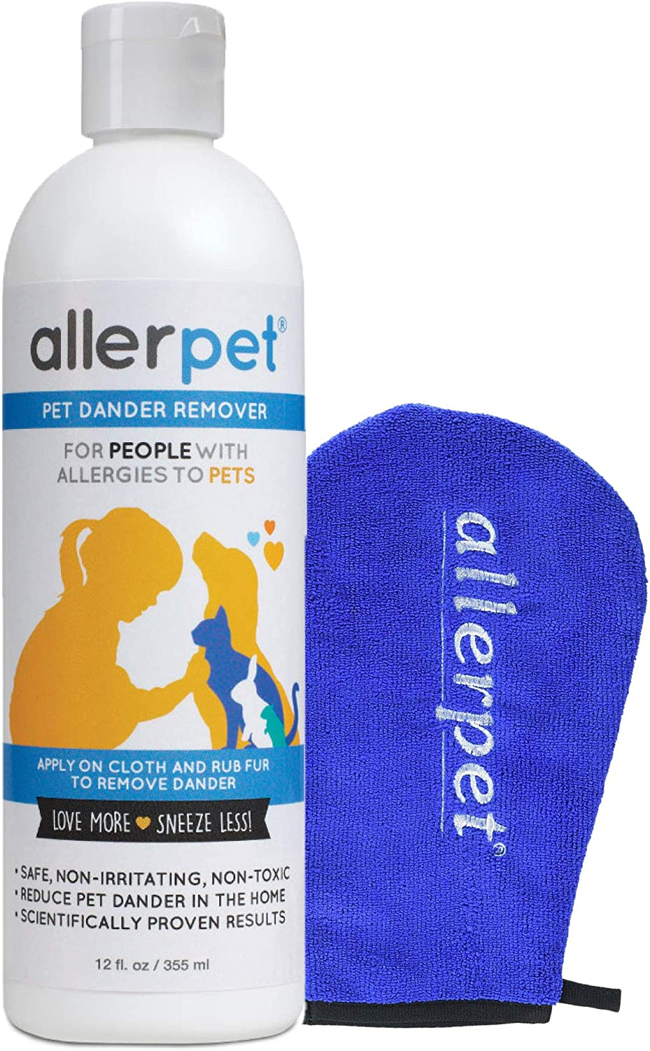 Allerpet Multi-Pet Dander Remover with Application Mitt - 100% Non-Toxic Dog & Cat Allergen Reducer - Scientifically Proven for Effective Allergy Relief for Any Pet - Proudly USA Made (12oz)