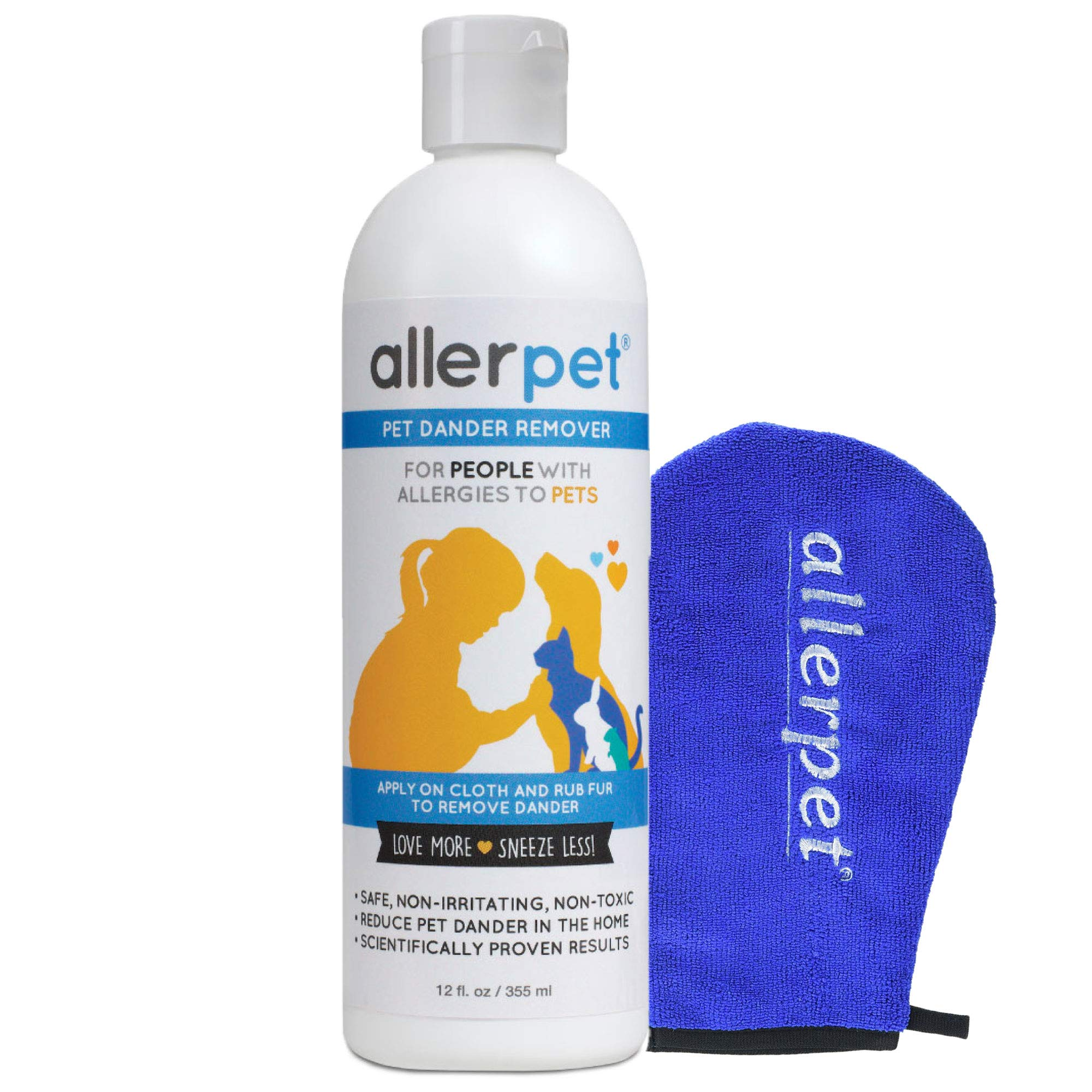 Allerpet Pet Allergy Relief - Best Dog & Cat Pet Dander Remover for Allergens + Works for Any Pet w/Fur or Feathers - 100% Non-Toxic & Safe for Pets + Bonus Applicator Mitt by Allerpet