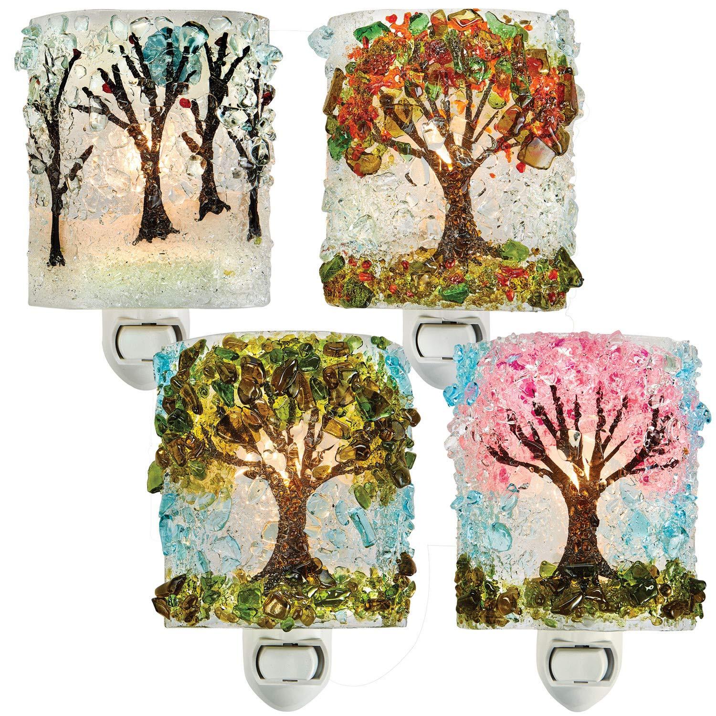 Reborn Glass Four Seasons Night Light: Set of 4 - Spring, Summer, Autumn, Winter Hand Made Fused Glass Art Glass