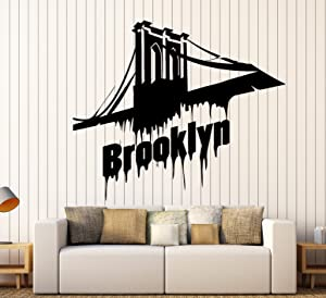 Vinyl Wall Decal Brooklyn Bridge New York Stickers Mural Large Decor (ig3870) Black