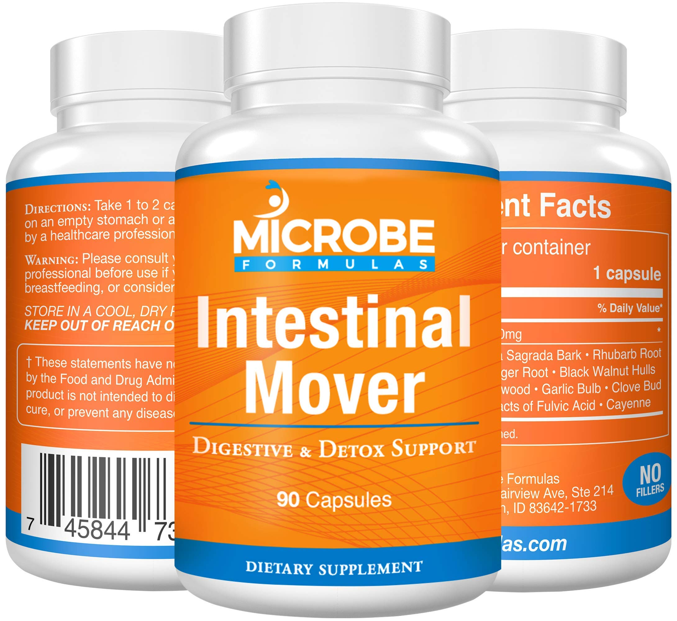 Microbe Formulas: Constipation Relief - Intestinal Mover - 90 Capsules - All Natural Formula - Offers Digestive Detox Support, Provides Gentle Constipation Relief, Promotes Proper Bowel Function