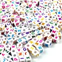 Simplebeauty 800 Pcs Acrylic Letter Beads White Alphabet Beads