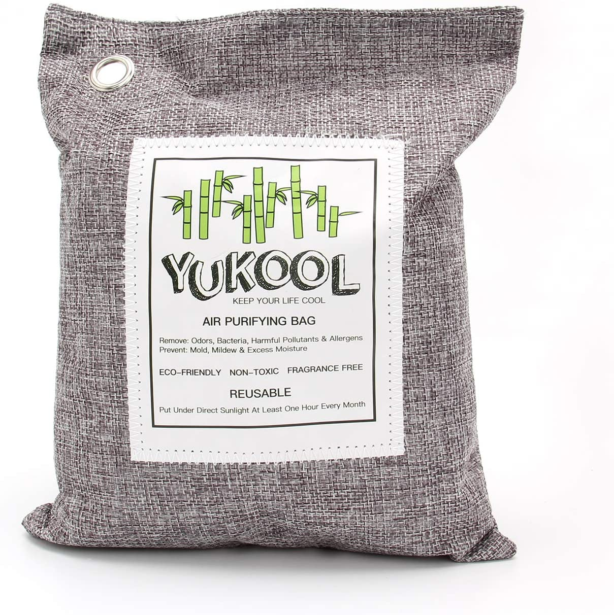 YUKOOL Charcoal Air Purifying Bags, 100% Bamboo Activated Charcoal Air Purifier and Air Freshener, Eco-Friendly, 7pcs, 1 x 500g, 2 x 200g, 4 x 75g (Grey) Grey