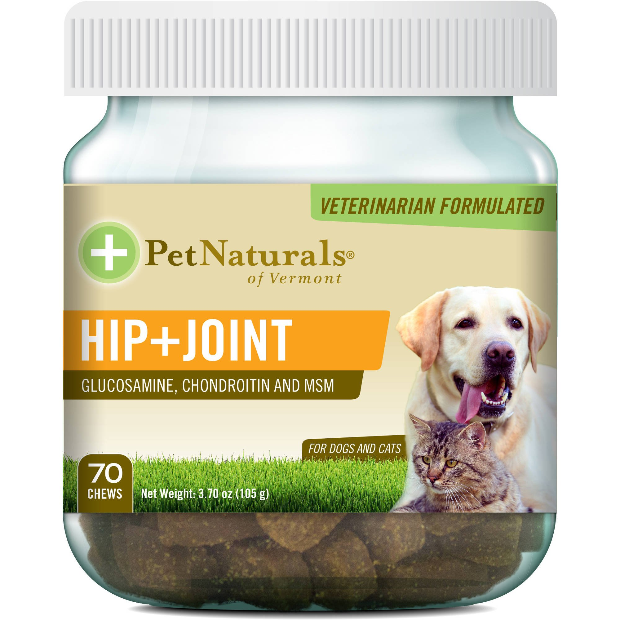 Pet Natural's of Vermont 70 Count Hip Plus Joint Supplement Soft Chews for Cats and Dogs