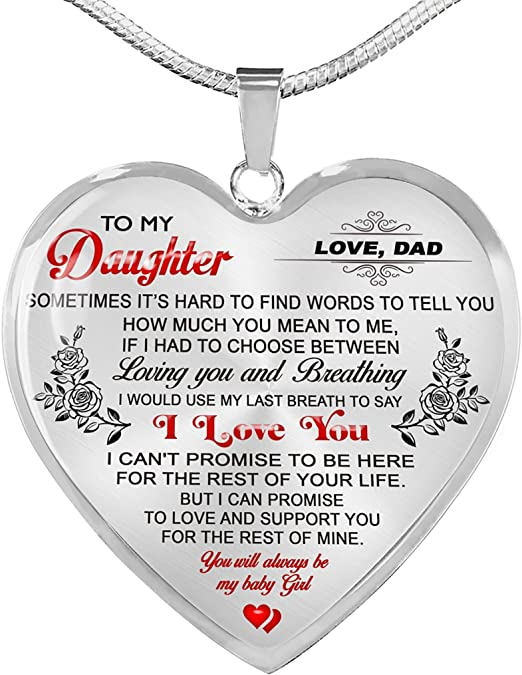18 K Gold Plated Personalized Engraving Girls Necklace Pendant to My Daughter Heart Always Remember That Daddy Loves You Meaningful Gift for Her//Children On Birthday Xmas.