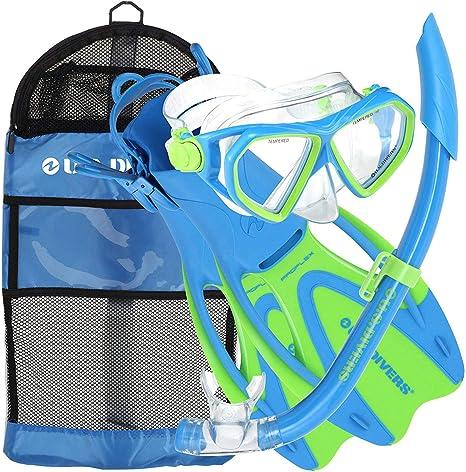 EE. UU. Divers Dorado Mask, Proflex Aletas y Sea Breeze Snorkel ...