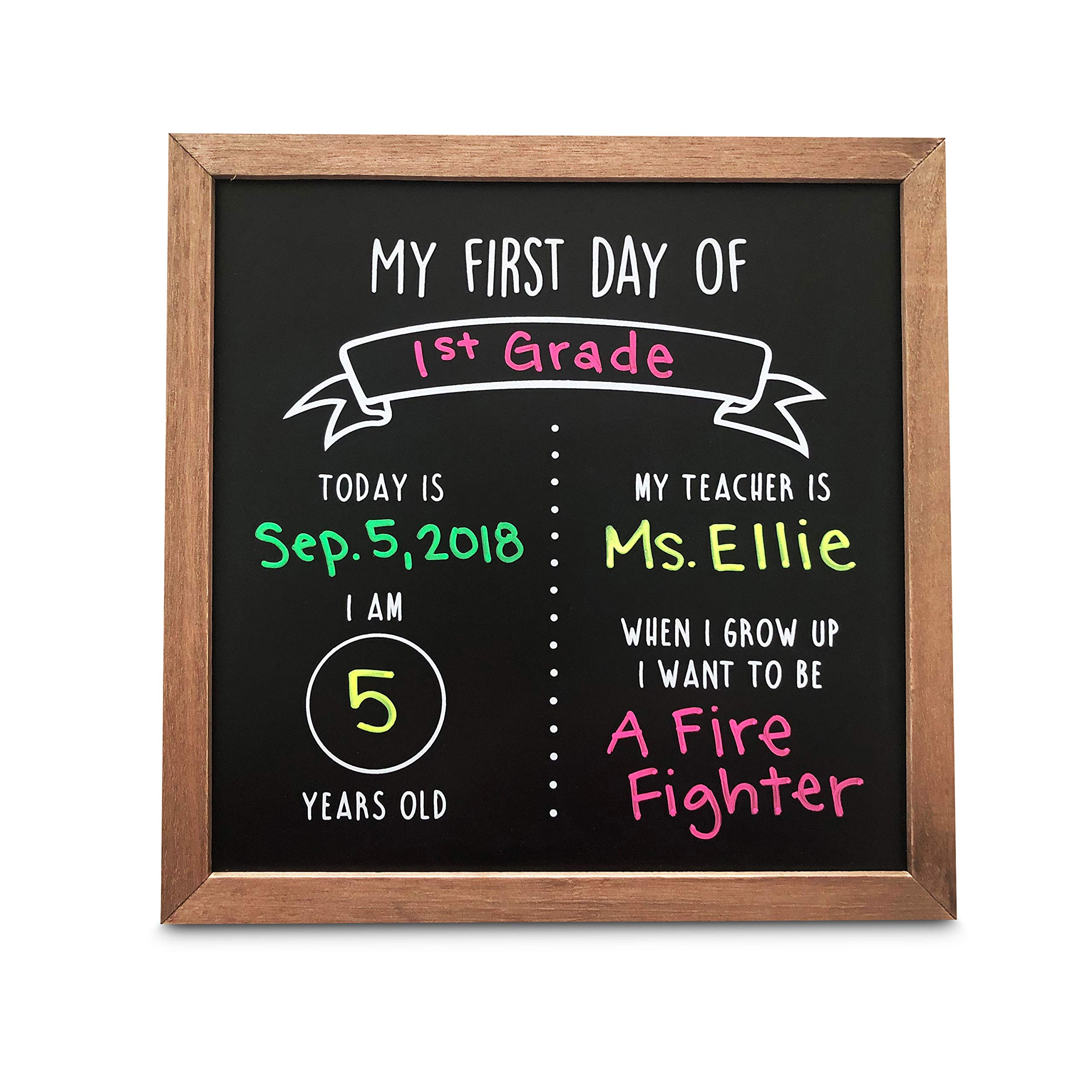 Olive & Emma First Day of School Reusable Chalkboard Sign | 12'' x 12'' Wood Framed Chalkboard | Back to School Photo Prop Board by Olive & Emma