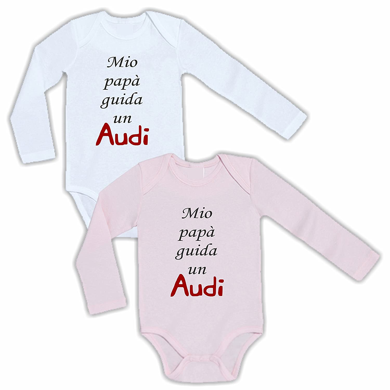 Mio Papa Guida Un Audi Humor Divertenti Infanzia Nascita Neonato qualit/à Made in Italy Body Manica Lunga Bimbo Bimba Neonato Pigiama
