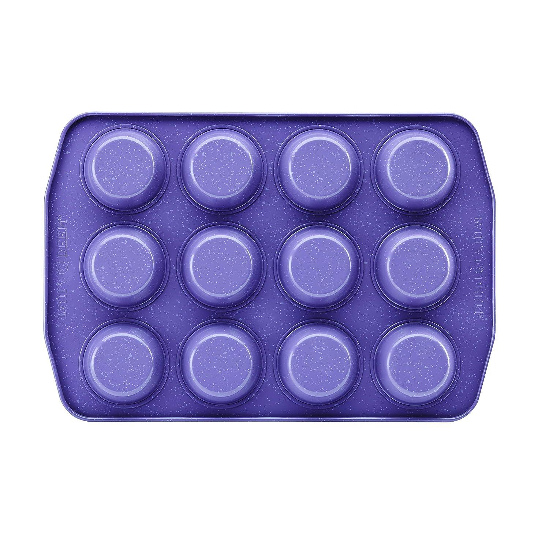 Paula Deen 46254 Speckle Nonstick Bakeware, Nonstick Muffin Pan / Cupcake Pan - 12 Cup, Lavender Speckle Purple
