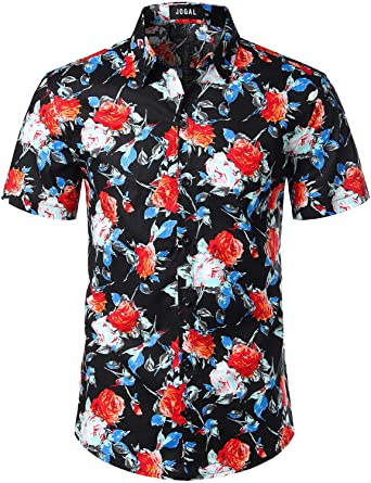7af5ba106 JOGAL Men's Flower Cotton Button Down Short Sleeve Hawaiian Shirt Small  A335 BlackCamellia