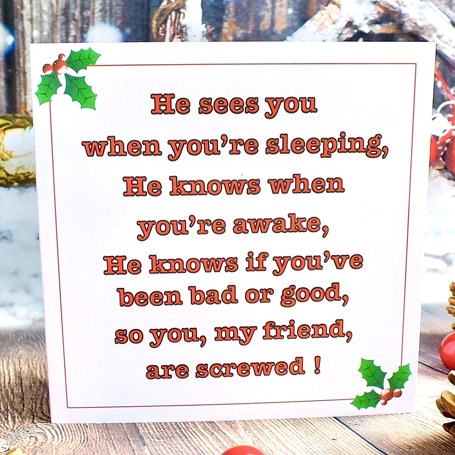 Humour Xmas Card Set of 4 Handmade Funny Christmas Cards He Sees You When Youre Sleeping