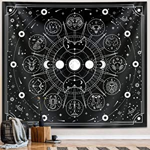 Zodiac Astrology Tapestry, Black and White Constellation Tapestry for Wall Hanging Decor, Teen Girl Bedroom Astrology Witchy Aesthetics Interesting Tapestry for Living Room,Home,Dorm (51 x 59 inches)
