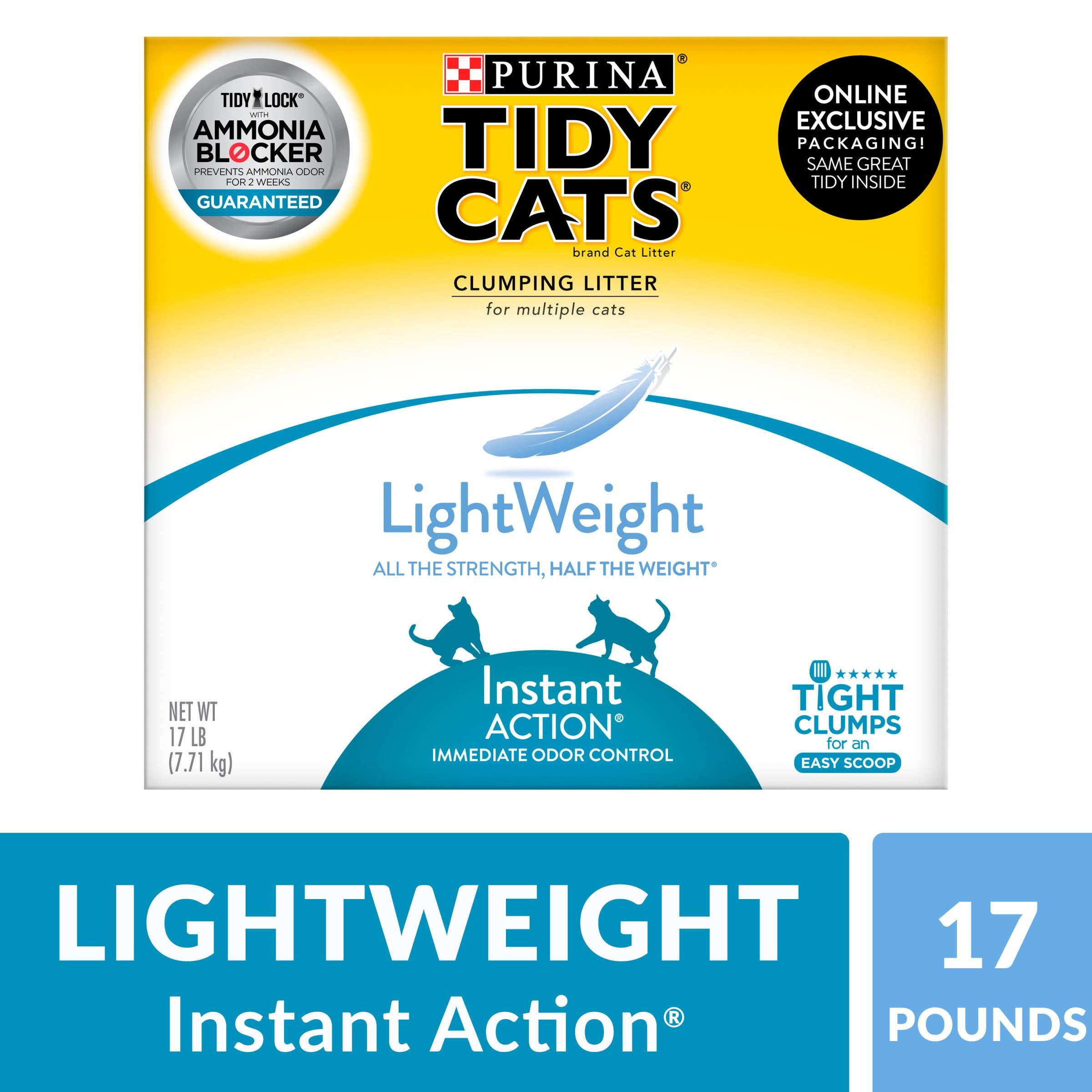 Purina Tidy Cats Light Weight, Dust Free, Clumping Cat Litter; LightWeight Instant Action Multi Cat Litter - 17 lb. Box
