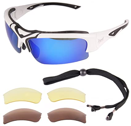 3bd138553cc9 Rapid Eyewear Toledo White Adjustable POLARIZED SPORTS SUNGLASSES with  Interchangeable Lenses for Men and Women.
