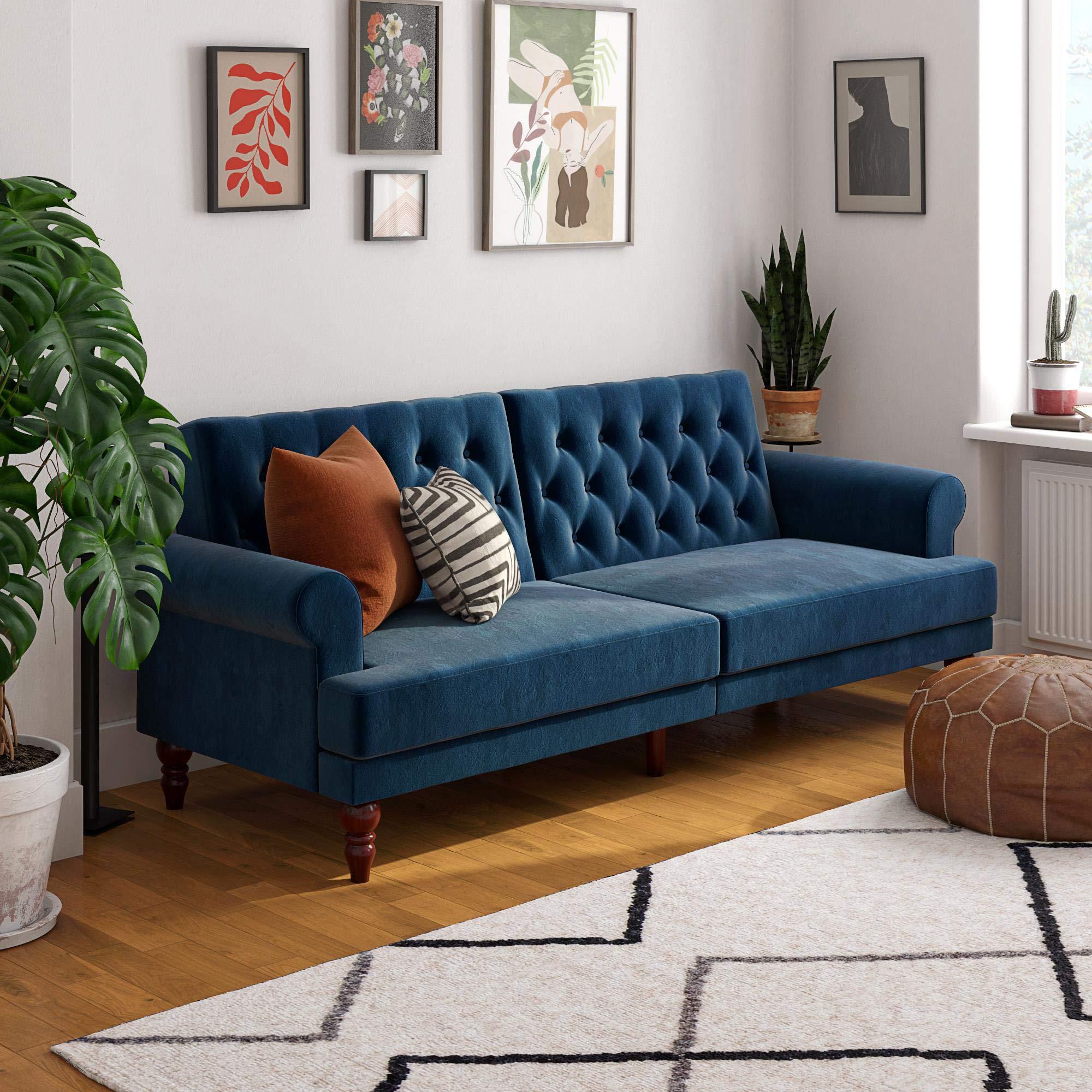 Novogratz Upholstered Cassidy, Convertible Sofa Bed, Blue Velvet Futon by Novogratz
