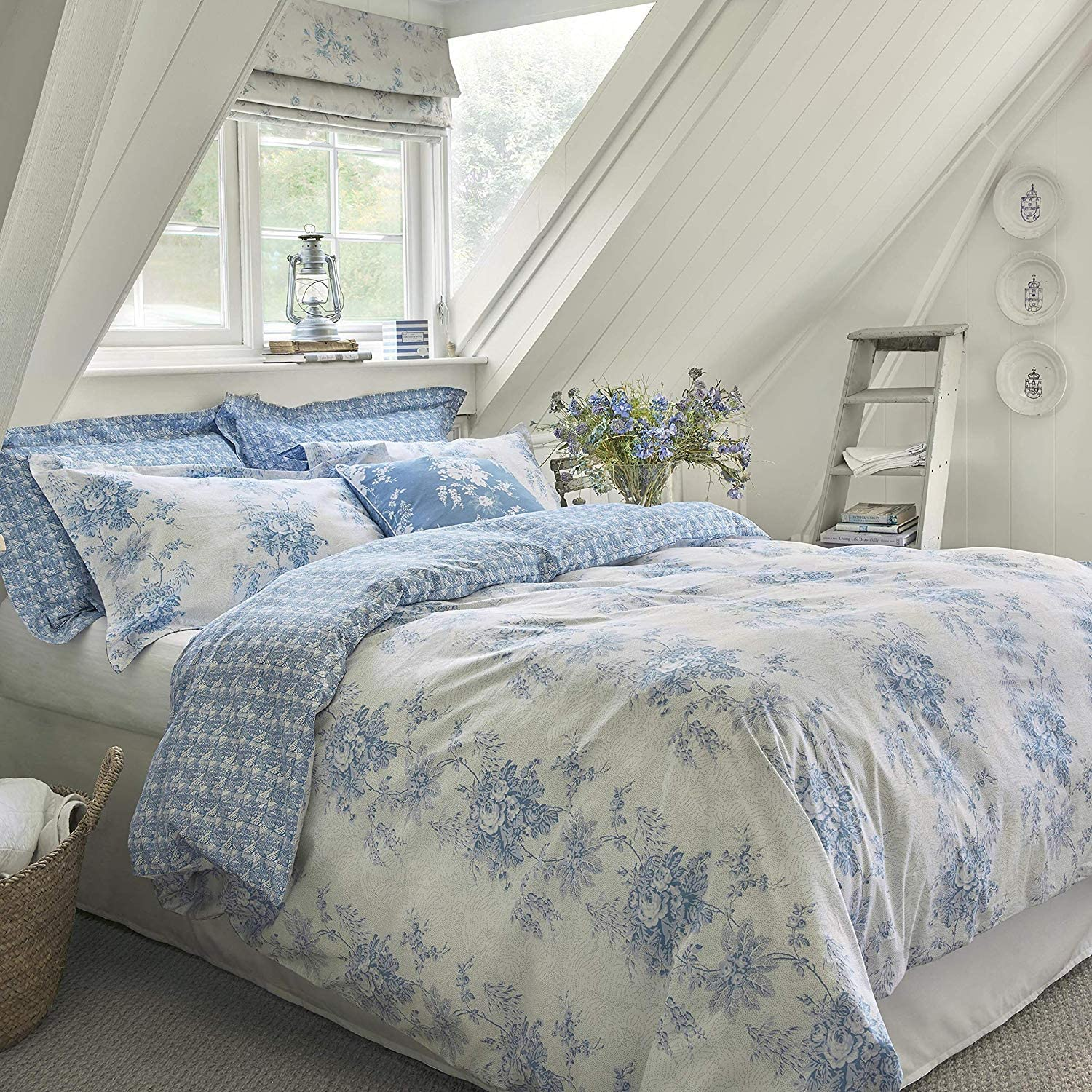 Cabbages /& Roses Darcy Rose Duvet Cover or Pillowcase Grey