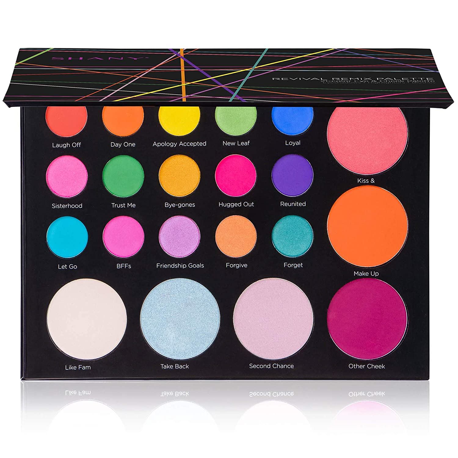 SHANY Revival Remix Palette - 21-Color Eye & Cheek Palette with 15 Matte and Shimmer Eyeshadows, 3 Highlighters and 3 Blushes