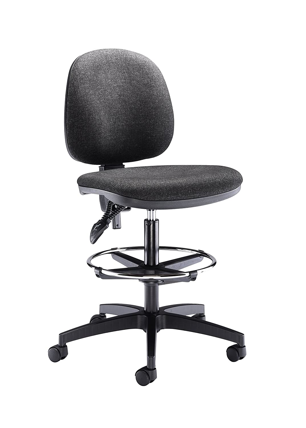 Office Hippo High Rise Ergonomic Mid Back Operator Chair with Adjustable Draughting Foot Ring, Fabric - Royal Blue TC Group OHN0022RB