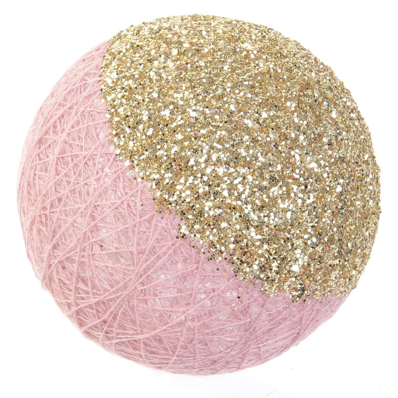 Longueur 3m Coloris Rose Or et Argent paillet/é Piles NON INCLUSES Cmp Guirlande 16 boules LED /à piles Blanc