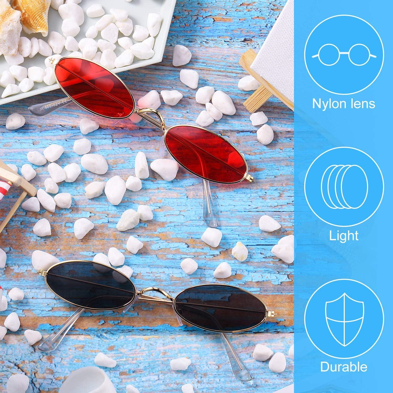 2 Paia Occhiali da Sole Ovali Vintage Occhiali da Sole Ovali Piccoli Mini Occhiali Rotondi alla Moda per Donne Ragazze Uomini Lente Rossa//Grigia e Montatura Oro