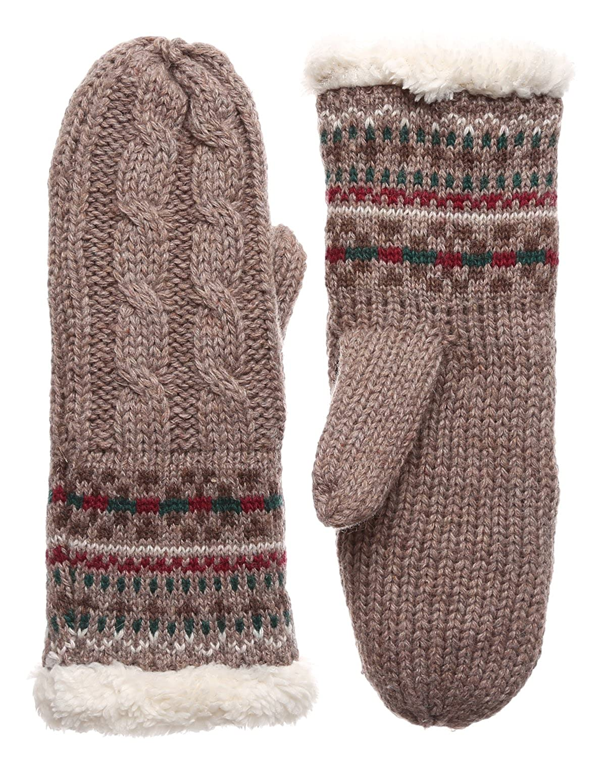 Womens Winter Warm Cable Knitted Mitten Plush Lining Gloves with Hair Tie.