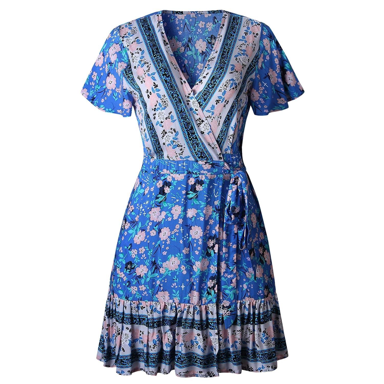 ZESICA Womens Summer Wrap V Neck Bohemian Floral Print Ruffle Swing A Line Beach Mini Dress