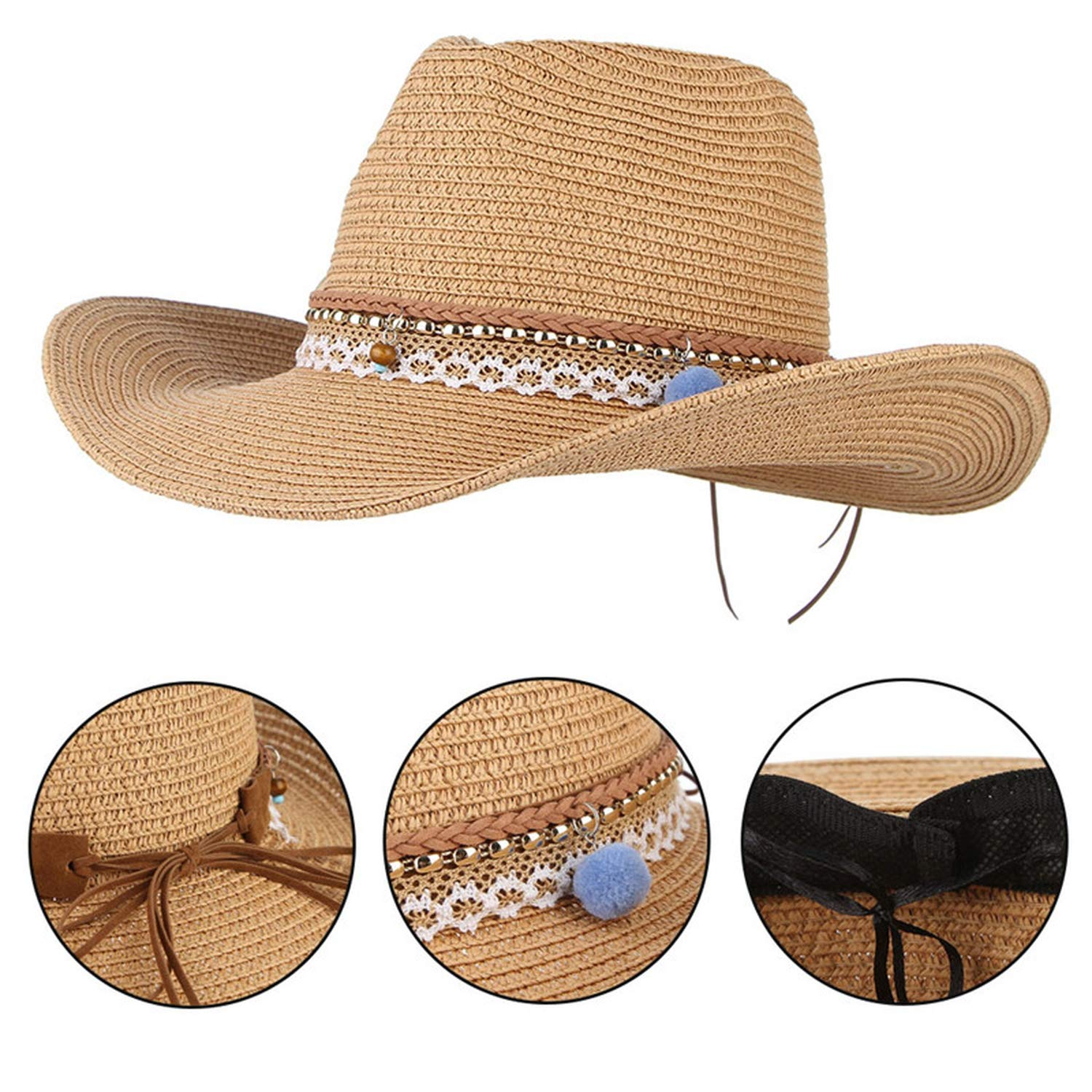 546ea983c9c12 Amazon.com  Vintage Boho Summer Hats for Women Wide Brim Straw Hat Western  Cowboy Jazz Hat Men Beach Visor Sun Cap Black  Clothing
