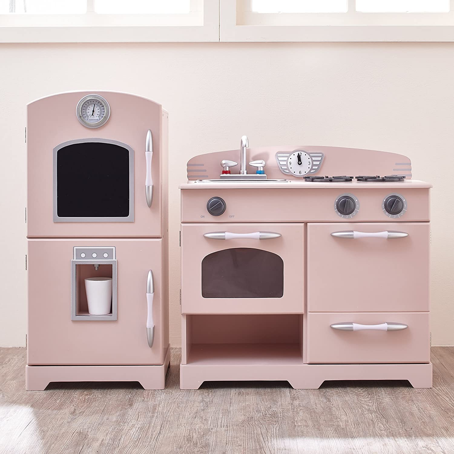 Amazon.com: Teamson Kids   Retro Wooden Play Kitchen With Refrigerator,  Freezer, Oven And Dishwasher   Pink (2 Pieces): Toys U0026 Games