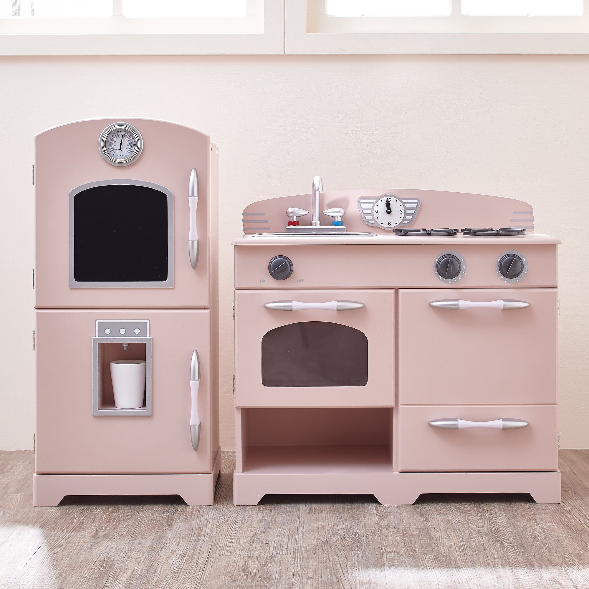 Teamson Kids - Retro Wooden Play Kitchen with Refrigerator, Freezer, Oven and Dishwasher - Pink (2 Pieces) by Teamson Kids (Image #3)