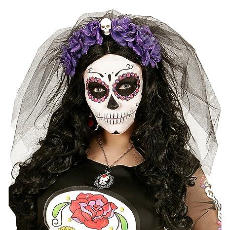f9bcd95ae3fd2 Bisutería La Catrina Banda Pelo Día de los Muertos Violeta y Negro Diadema  cráneo Diadema Fiesta