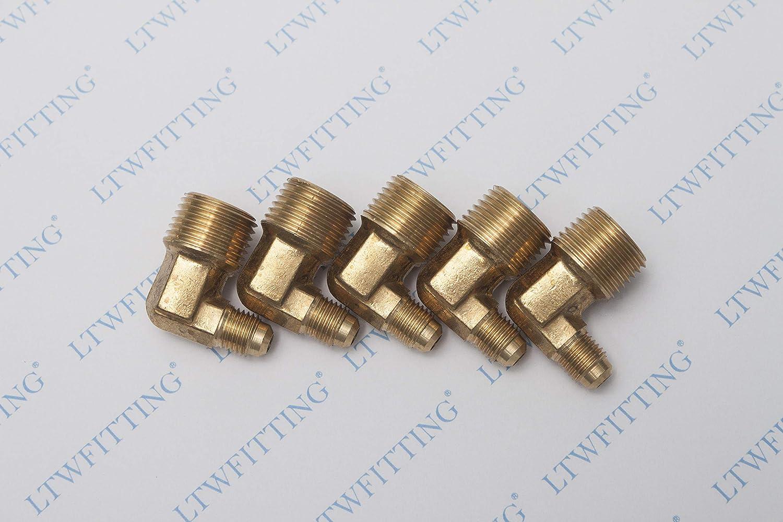 5 piezas Sin Marca 1//4 OD SAE 45/° flare x 1//8 Macho NPT lat/ón accesorio de 90/° codo de conector de conexi/ón