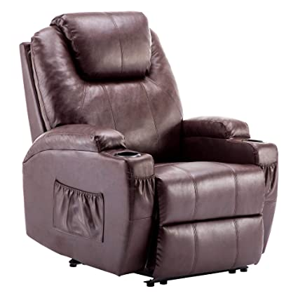 Power Recliner Massage Ergonomic Sofa Vibrating Heated Lounge Chair Faux Leather Dual Cup Holders 7050 (Dark Brown)