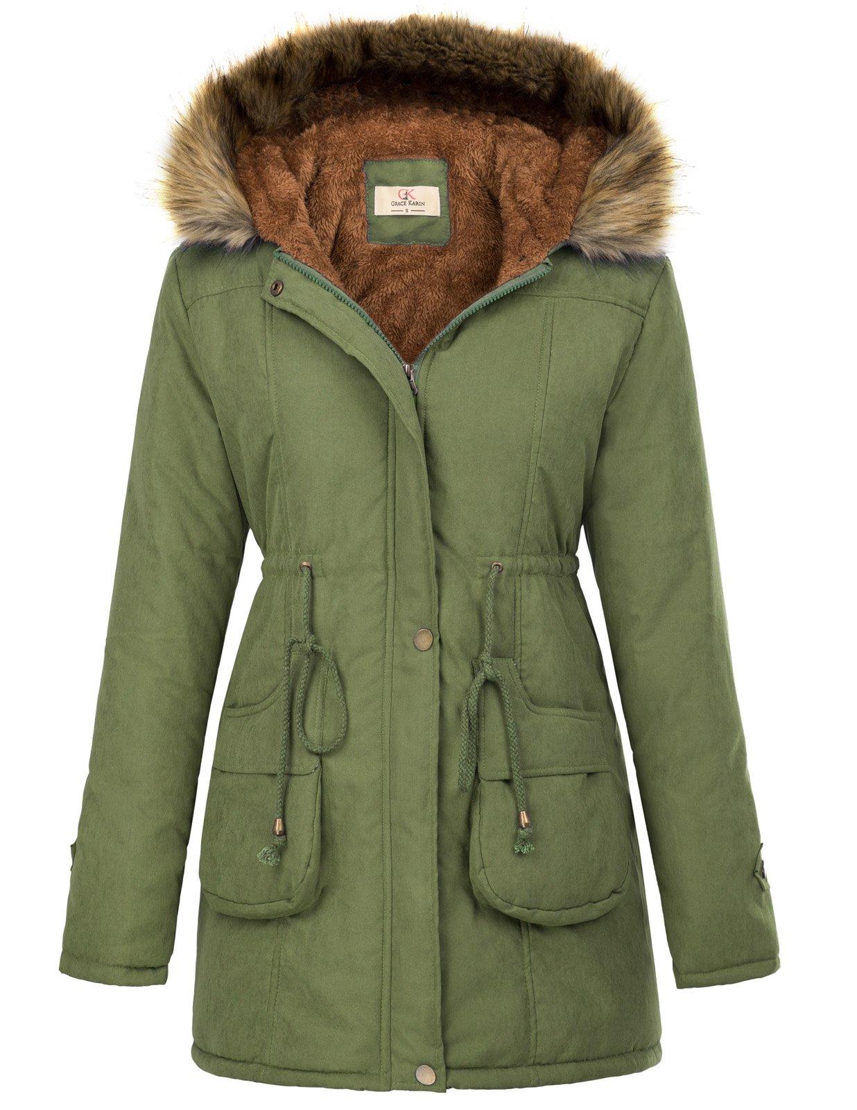 GRACE KARIN Women's Winter Thicken Jacket Hooded Parka Outwear XL Army Green by GRACE KARIN