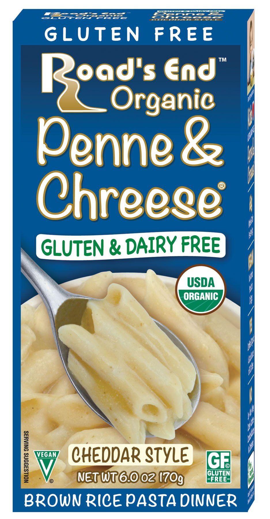 Road's End Organics Gluten Free Penne and Chreese, Organic, 6-Ounce Boxes (Pack of 12) by Road's End Organics