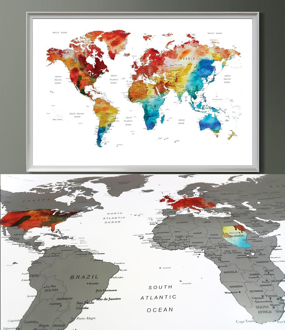 Amazon Com Watercolor World Map Scratch Off Wall Art Poster World