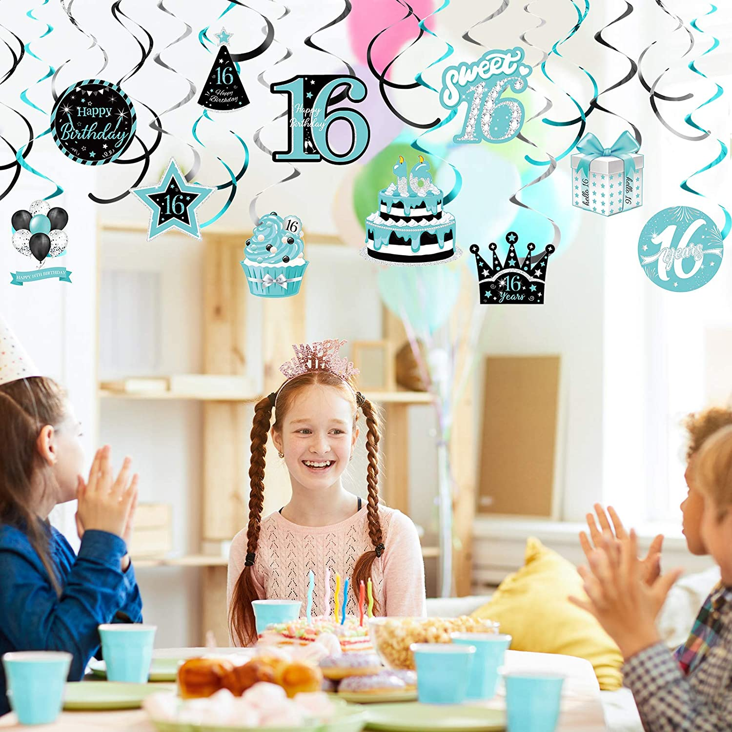 Teal Silver Black Blue Turquoise Happy 16th Birthday Foil Swirls Ceiling Decor for Girls Sweet Sixteen Birthday Decorations Supplies 30 Pieces 16th Birthday Hanging Swirl Decorations
