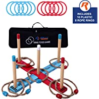 Outdoor Ring Toss Game by Rally & Roar for Adults and Kids - Rings Tossing Set, Plastic and Rope, Jumbo Pieces for Outside Family Activities - Ring Toss Sets for Yard, Law, Backyard, Parties, Bars