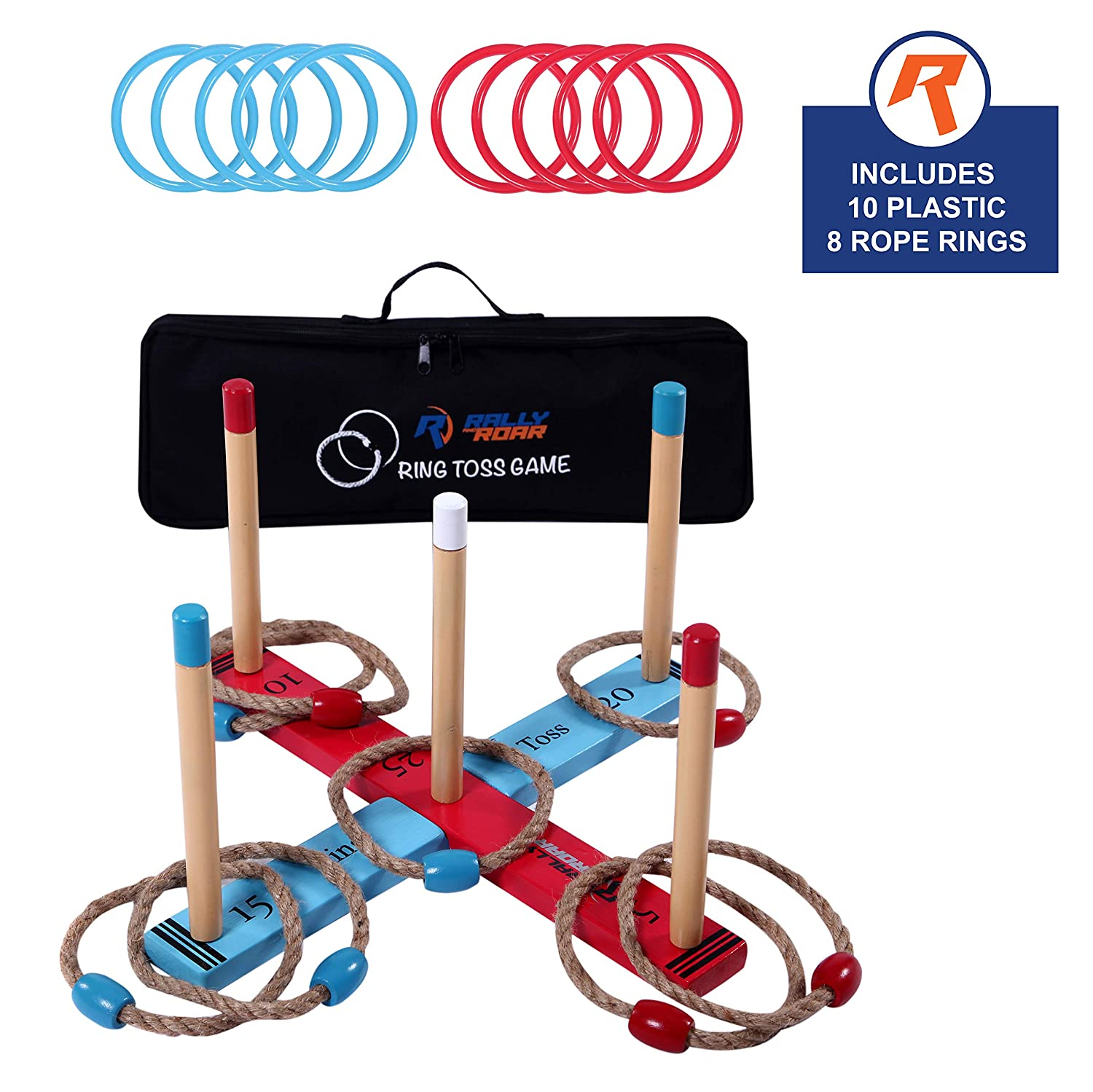Outdoor Ring Toss Game by Rally & Roar for Adults and Kids...