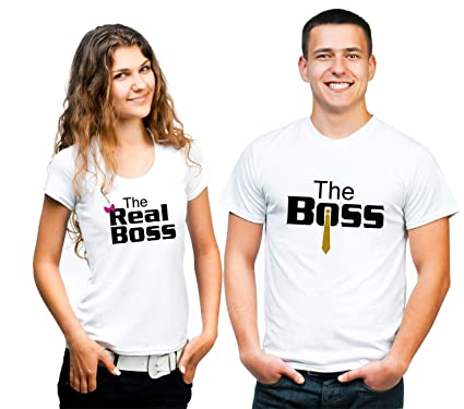 16452205e4 Hangout Hub Couple Tshirts The Boss The Real Boss Printed White Color Matching  Tees Valentine Gift for Men Women (Set of 2): Amazon.in: Clothing & ...