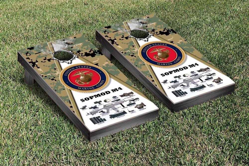US Marines USMC SOPMOD M4 Woodland Camo Regulation Cornhole Game Set
