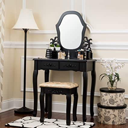 Fineboard Antique Vanity table in Wood Dressing table set with Stool 2 + 2  Organization Drawer - Amazon.com: Fineboard Antique Vanity Table In Wood Dressing Table