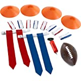 Flag Football Flags - Set Includes 10 Flag Belts for 5 x 5 | 4 Cones | Youth Football | Hand Pump | Carrying Bag - Complete Flag Football Belt Set