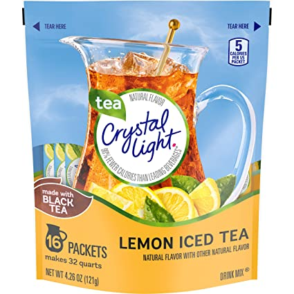 Amazon Com Crystal Light Total Powdered Beverages Crystal Light Lemon Iced Tea 16 Count Pouch 32qt Pack Of 12 51 12 Ounce Powdered Soft Drink Mixes Grocery Gourmet Food