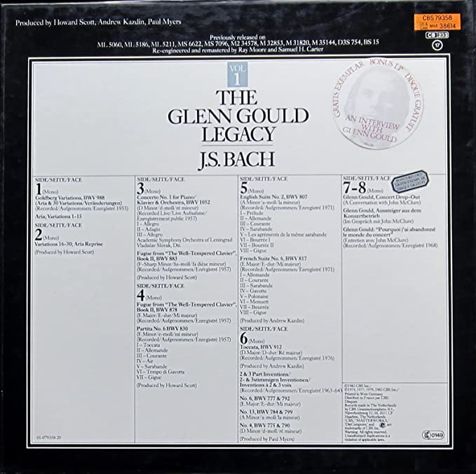 Glenn Gould Legacy. Vol. 1. Goldberg Variationen, Concert No. 1 ...