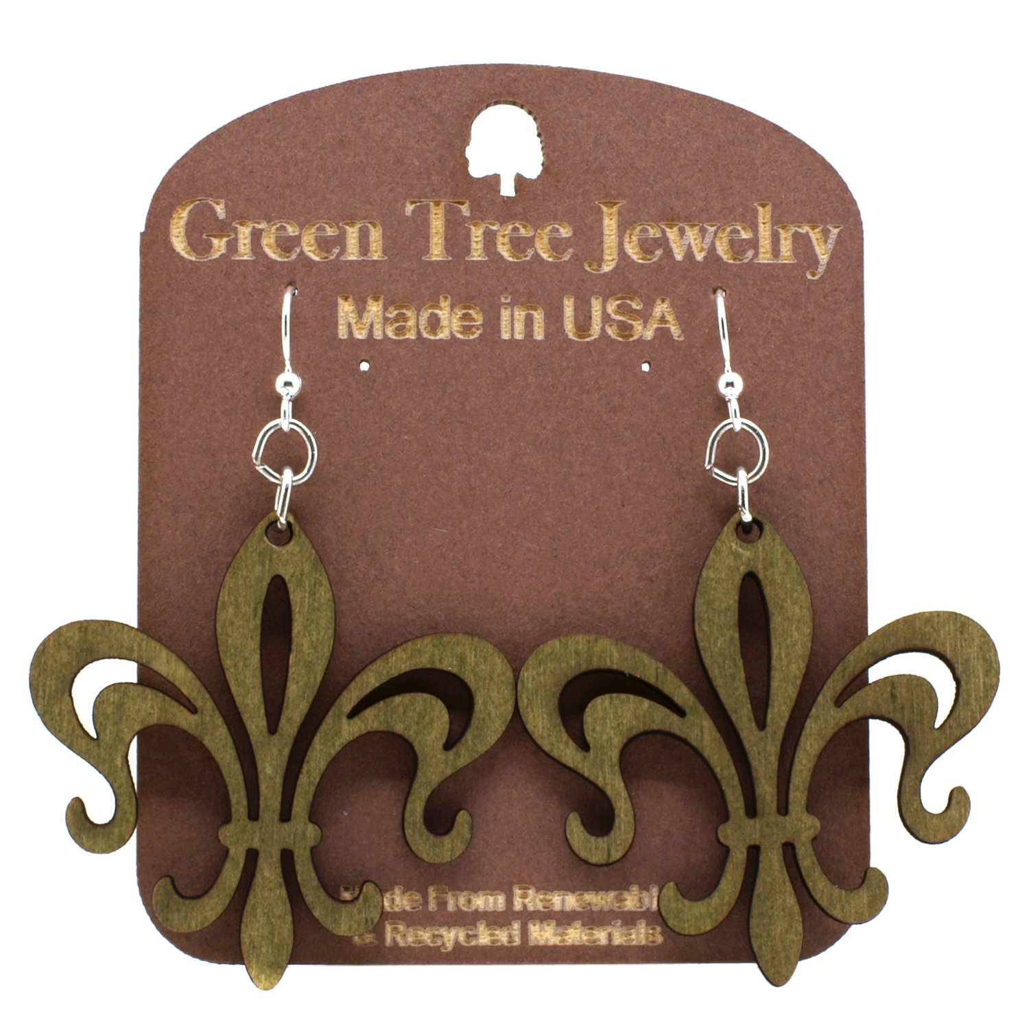 Green Tree Fleur de Lis Renewable Natural Wood Earrings