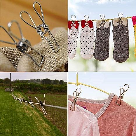 30 pinzas de ropa de acero inoxidable multiusos sello archivos aperitivos pinzas de ropa de colores para colgar ropa